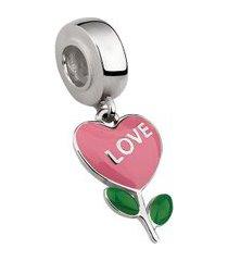berloque de prata flor com coração vermelho moments