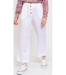 pantalón blanco portsaid lino cropped relax bowie