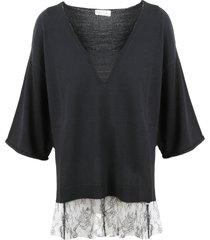 red valentino lace slouchy sweater