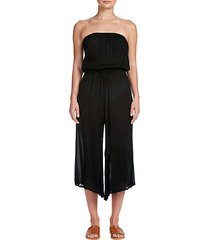 strapless cropped-leg jumpsuit