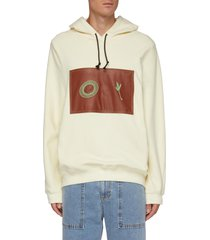 graphic embroidered vegan leather patch hoodie