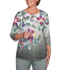 alfred dunner loire valley printed textured top