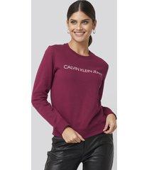 calvin klein ïnstitutional regular crew neck sweatshirt - red,purple
