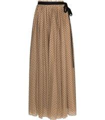 staud poppy tie fastening polka-dot skirt - brown