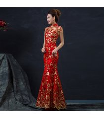 women red chinese wedding sleeveless cheongsam gold traditional qipao dress