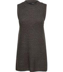 vmlefile sl o-neck long vest vests knitted vests grå vero moda