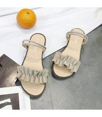 sandalias versión coreana de verano de las sandalias planas de encaje de boca de pescado