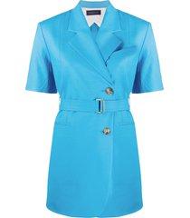 eudon choi short-sleeve belted blazer - blue