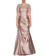 la femme embroidered draped trumpet gown, size 6 in light gold at nordstrom