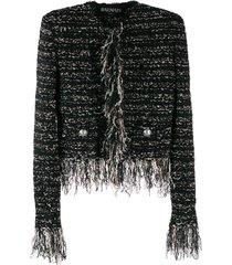 balmain frayed edges tweed jacket - black