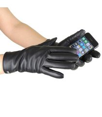 luva térmica feminina lisa touch screen em couro legítimo