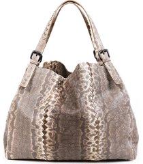 bottega veneta karung gray lizard skin tote bag gray/multicolor sz: l
