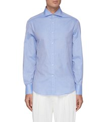 spread collar cotton twill shirt
