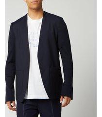 maison margiela men's collarless mohair and poplin jacket - blue - it 50/l