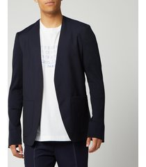 maison margiela men's collarless mohair and poplin jacket - blue - it 50/l