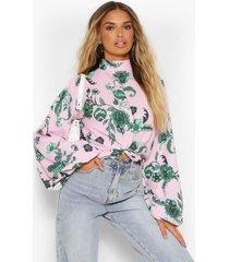 scarf print twist blouson sleeve blouse, pink