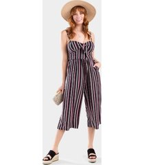 willma stripe front knot jumpsuit - black/white