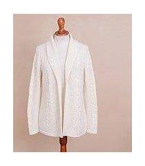 alpaca blend cardigan, 'white elegance' (peru)