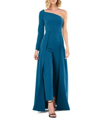 women's kay unger one-sleeve maxi romper, size 14 - blue/green