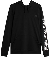 buzo hoodie free your mind color negro, talla l