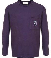 cerruti 1881 crew neck patch pocket sweater - purple