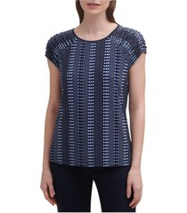 tommy hilfiger printed ruched-sleeve top