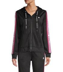 karl lagerfeld paris women's tape-trim logo hoodie - marine - size xs