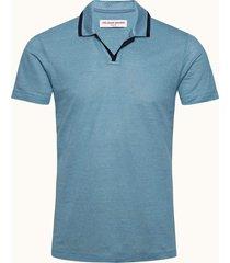 capri blue resort collar felix linen polo shirt