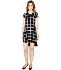lucky s/s dress w/ side slit - m black loom