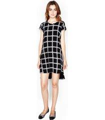 lucky s/s dress w/ side slit - m black loom