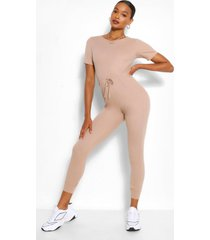 zachte geribbelde jumpsuit met joggingbroek met elastische taille band, steenrood