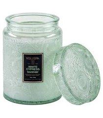 mini vela pote vidro relevo white cypress - verde