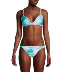 zadig & voltaire women's camo-print triangle bikini top - turquoise - size 38 (m)