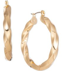 "charter club gold-tone spiral medium hoop earrings, 1.55"", created for macy's"
