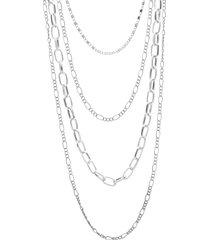 collana lunga in acciaio multicatena per donna