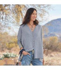 sundance catalog women's nora jane reversible cardigan in gray/strpe 2xl
