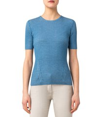 akris punto rib wool crewneck sweater, size 8 in blue denim-cream at nordstrom