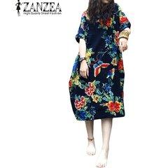 zanzea verano floja ocasional del algodón de lino de gran tamaño de la impresión floral de los vestidos shift mediodía vestidos de las mujeres de la vendimia de manga corta - azul