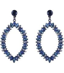 maxi brinco armazem rr bijoux gota cristais azul - feminino