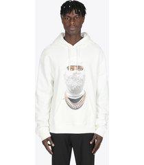 ih nom uh nit white cotton hoodie with future print