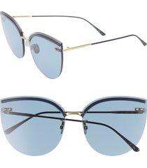women's bottega veneta 62mm oversize rimless cat eye sunglasses - blue/ black/ gold