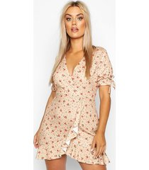 ditsy floral wrap ruffle tea dress, stone