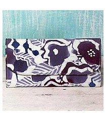 leather accent cotton batik wallet, 'flowery cheer' (india)