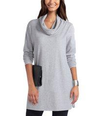 women's cowl neck mix media sweater tunic