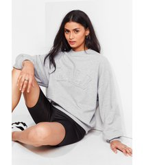 womens back to cali embroidered relaxed sweatshirt - grey