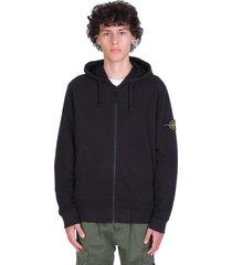 stone island sweatshirt in black cotton
