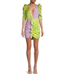 for love & lemons women's dubois mixed-print ruched mini dress - freedom floral - size xs