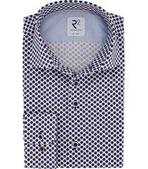 overhemd r2 amsterdam blauw wit stippen