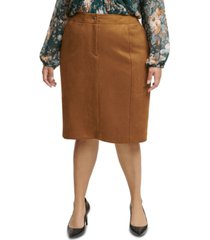 calvin klein plus size faux-suede pencil skirt