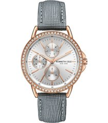 kenneth cole new york women's diamond dial gray genuine leather strap watch 35mm